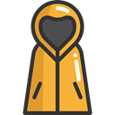Rain, clothing, raincoat, rainy, fashion, Bad Weather Goldenrod icon