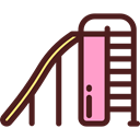 Park, Playground, childhood, entertainment, Kid And Baby, Toboggan Maroon icon