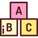 Abc, Bricks, education, Alphabet, learning, entertainment, Baby Toy Maroon icon