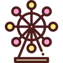 Big Wheel, Ferris Wheel, Business, buildings, entertainment, fair, Amusement Park, Funfair Maroon icon
