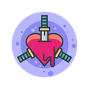 scary, Stabbing, Hearts, halloween, Knife, Blade, spooky Black icon