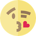 feelings, Smileys, wink, kiss, emoticons, Emoji Khaki icon