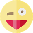 wink, tongue, emoticons, Emoji, feelings, Smileys Khaki icon