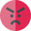emoticons, Emoji, feelings, Smileys, Angry PaleVioletRed icon