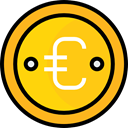 Euro, Business, Money, coin, Cash, Currency, Business And Finance Gold icon