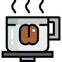 Coffee, cup, hot, food, rounded, Cups, Plate, coffee cup, Coffees, Food And Restaurant Black icon
