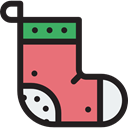 Clothes, clothing, fashion, Garment, Christmas Sock Black icon