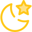 star, Moon, night, nature, landscape Gold icon
