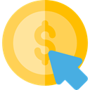 Money, coin, payment, pay per click, Dollar Symbol, Seo And Web, Mouse, Business, Cursor SandyBrown icon