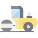 transport, vehicle, Construction, Road, steamroller, Construction And Tools Black icon