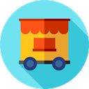 transportation, transport, wagon, carnival, Fairground SkyBlue icon