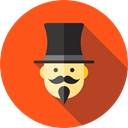 Professions And Jobs, Wand, hat, user, magic, Avatar, magician, entertainment, Magic Trick OrangeRed icon