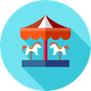 Amusement Park, Fairground, Circus, Fun, Carousel, carnival, entertainment SkyBlue icon