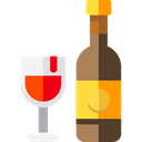 wine, party, Alcohol, food, Bottle, Celebration, Wine Bottle, Alcoholic Drinks, Food And Restaurant Black icon