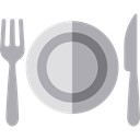 Food And Restaurant, Fork, dinner, Knife, Plate, Restaurant, Dish, Cutlery, Tools And Utensils DarkGray icon