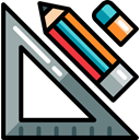pencil, Eraser, set square, Edit Tools, Design Tool Black icon