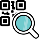 magnifying glass, Code, Barcode, qr, qr code Black icon