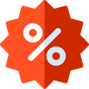 star, Design, commerce, Badge, sticker, Discount, percentage, signs, Badges, Commerce And Shopping OrangeRed icon