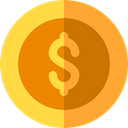 Business, Money, coin, Cash, Dollar, Currency, Business And Finance Goldenrod icon