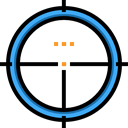 Aim, Target, shooting, sniper, weapons Black icon