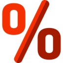 Percent, shapes, Sales, Discount, percentage, signs, Commerce And Shopping OrangeRed icon