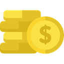 Business, Money, Coins, Cash, stack, Currency, Commerce And Shopping Goldenrod icon
