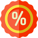 Shapes And Symbols, Percent, shapes, Sales, Discount, percentage, signs OrangeRed icon