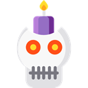 Candle, skull, halloween, decoration Black icon