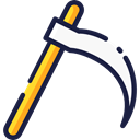 equipment, halloween, garden, Agriculture, Farm, gardening, scythe, Tools And Utensils, Farming And Gardening Black icon