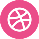 dribbble, round icon, Circle, portfolio PaleVioletRed icon