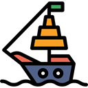 sailing, transportation, ship Black icon