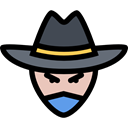 people, user, head, Avatar, western, Cowboy, Bandit, carnival, Costume Black icon