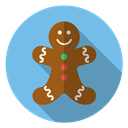 winter, Holiday, xmas, smile, cute, christmas, gingerbread SkyBlue icon