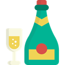 Bottle, champagne, Celebration, Alcoholic Drinks, Food And Restaurant, party, Alcohol, food Black icon