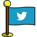 bird, Social, networking, media, flag, twitter LightSeaGreen icon