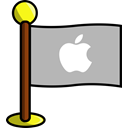 Social, networking, media, Apple, flag Silver icon