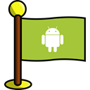 flag, Social, Android, networking, media YellowGreen icon