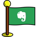 media, flag, Note, Notes, Social, Evernote, networking SeaGreen icon