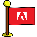 flag, adobe, Social, media, networking Crimson icon