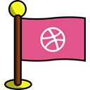media, flag, Social, Art, networking, dribbble PaleVioletRed icon