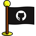 media, flag, Social, networking, Github Black icon