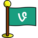 media, flag, Social, networking, Vine DarkCyan icon