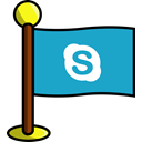networking, flag, Skype, Social, media Icon