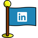 Social, networking, media, flag, Linkedin SteelBlue icon