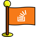 media, flag, Social, networking, stackoverflow DarkOrange icon