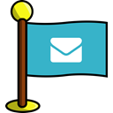 media, Email, flag, Social, networking MediumTurquoise icon