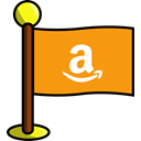Amazon, networking, media, flag, Social Orange icon