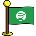 networking, Spotify, media, flag, Social SeaGreen icon