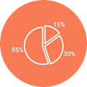 chart, graph, Pie chart Coral icon