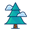 christmas, Forest, Pine, Tree, Cloud Black icon